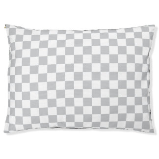 Light Grey Checkerboard Large Dog Bed