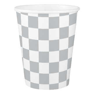 Light Grey Checkerboard Paper Cup
