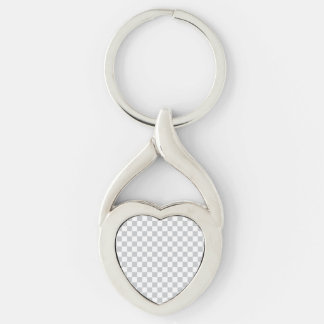 Light Grey Checkerboard Silver-Colored Twisted Heart Keychain