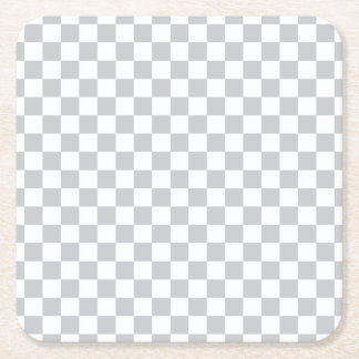 Light Grey Checkerboard Square Paper Coaster