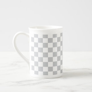 Light Grey Checkerboard Tea Cup