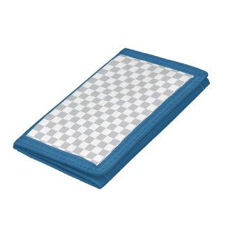 Light Grey Checkerboard Tri-fold Wallets