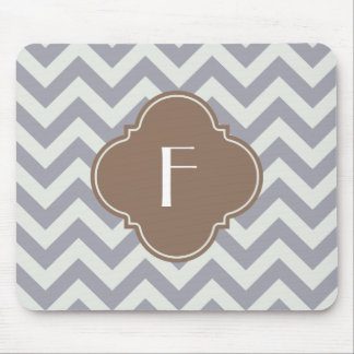 Light Grey Chevron Custom Monogram Mouse Pad
