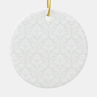 Light Grey Damask pattern Christmas Ornament