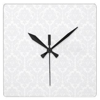 Light Grey Damask pattern Square Wall Clock