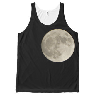 Light Grey Gray full moon black night sky All-Over-Print Tank Top