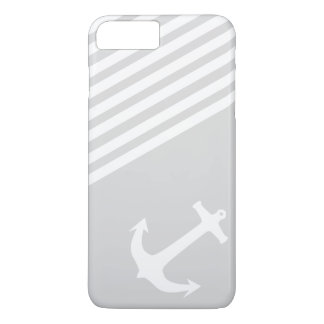 Light Grey Nautical Anchor and stripes iPhone 7 Plus Case