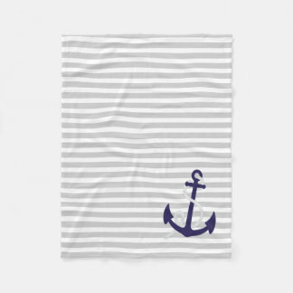 Light Grey Nautical Stripes with Navy Blue Anchor Fleece Blanket