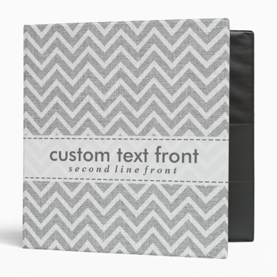 Light Grey Retro Chevron Pattern Linen Texture 3 Ring Binders