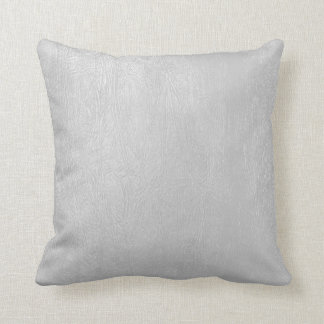 Light Grey Vintage Leather Look Throw Pillow