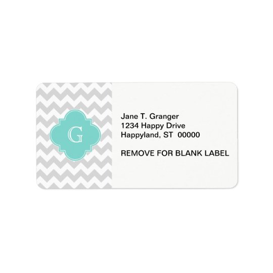 Light Grey White Chevron Aqua Quatrefoil Monogram Label