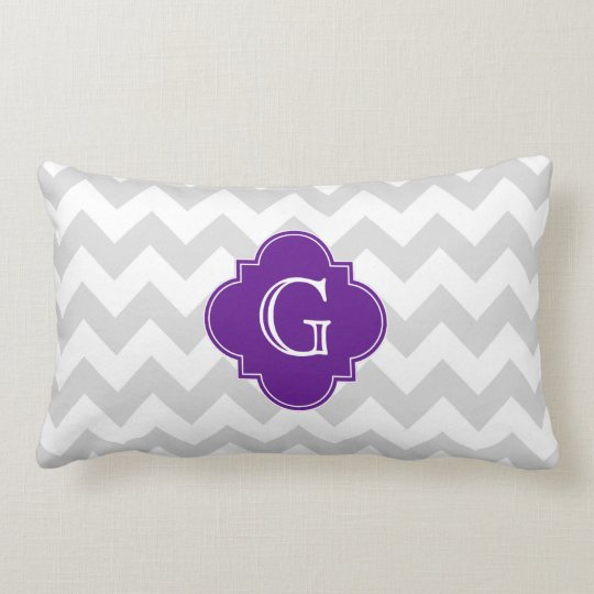 Light Grey Wht Chevron Purple Quatrefoil Monogram Lumbar Pillow