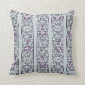 Light grey with purple flowers stripe throw pillow