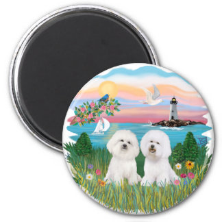 Light House - Two Bichon Frise 2 Inch Round Magnet
