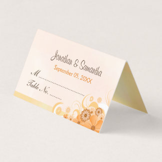 Light Ivory Gold Hibiscus Floral Folded Table Place Card