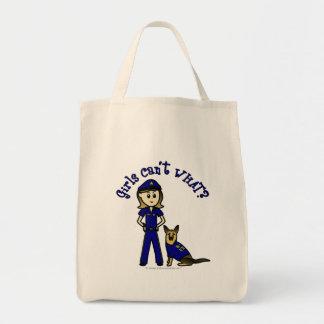 Light K9 Police Girl Grocery Tote Bag