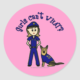Light K9 Police Girl Round Stickers