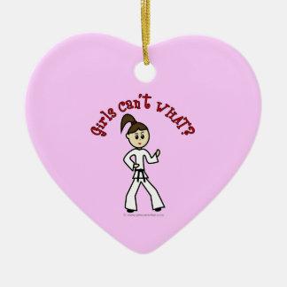 Light Karate Girl Ceramic Heart Ornament