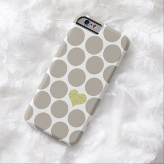 Light Khaki Polka Dots Glitter Heart iPhone Barely There iPhone 6 Case