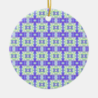 Light Lavender Teal Pastel Connections Pattern Round Ceramic Ornament