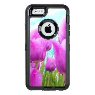 Light Magenta Feminine Tulips Blue Sky OtterBox Defender iPhone Case