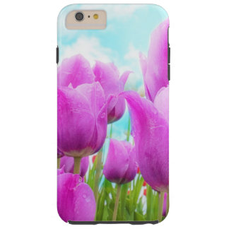 Light Magenta Feminine Tulips Blue Sky Tough iPhone 6 Plus Case