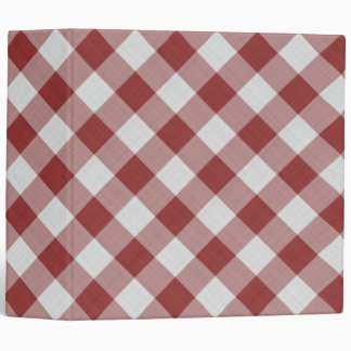 Light Maroon Red Country Cottage Gingham Stripes 3 Ring Binder