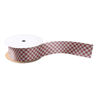 Light Maroon Red Country Cottage Gingham Stripes Satin Ribbon