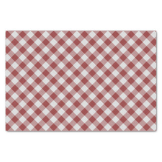 Light Maroon Red Country Cottage Gingham Stripes Tissue Paper