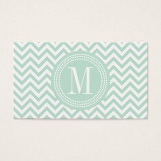 Light Mint Chevron Zigzag Personalized Monogram Business Card