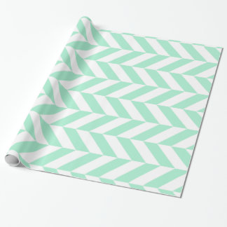 Light Mint Green Chevron Pattern Wrapping Paper