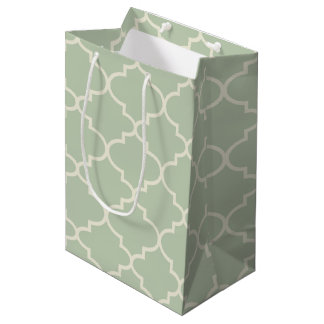 Light Mint Moroccan Quatrefoil Pattern Gift Bag
