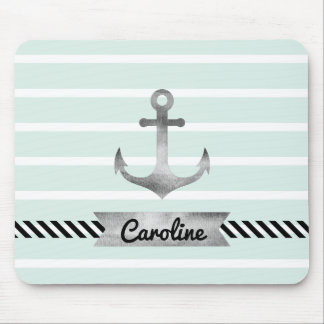 Light Mint Stripes Watercolor Anchor Personalized Mouse Pad