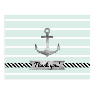 Light Mint Watercolor Anchor Personalized Text Postcard