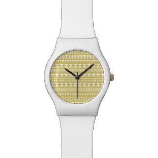 Light Mustard Yellow Aztec Tribal Pattern Wristwatch