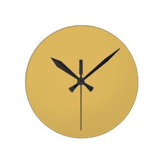 Light Mustard Yellow Solid Colour Round Clock