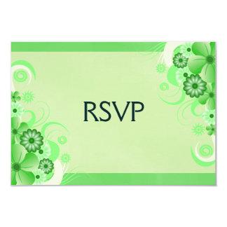 "Light Pastel Green Floral RSVP Response Cards 3.5"" X 5"" Invitation Card"