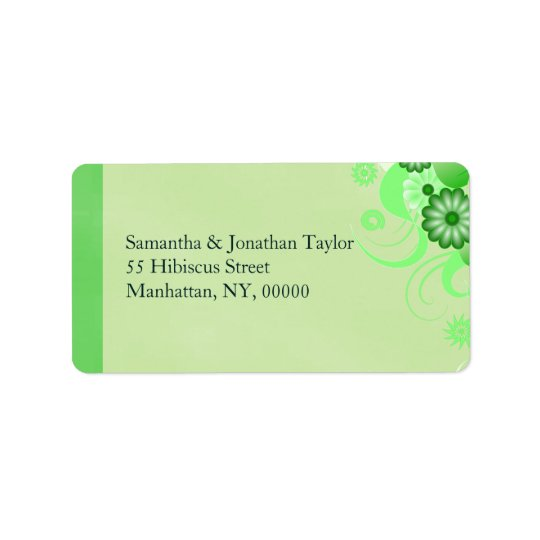 Light Pastel Green Hibiscus Floral Address Labels