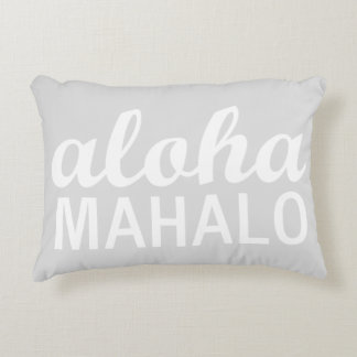 Light Pastel Grey Aloha Mahalo Typography Hawaiian Accent Pillow