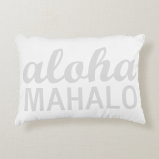 Light Pastel Grey Aloha Mahalo Typography Hawaiian Decorative Pillow