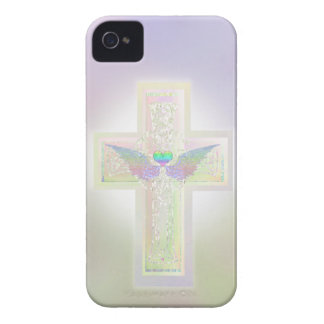 Light pastel pearl cross with heart and angel wing Case-Mate iPhone 4 case