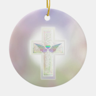 Light pastel pearl cross with heart and angel wing ceramic ornament