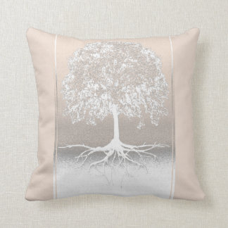 Light Peach and Gray Tree of Life Throw Pillow