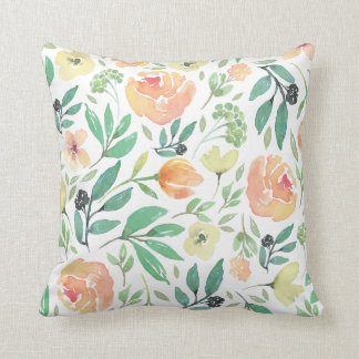Light Peach & Yellow Watercolors Flowers Pattern Throw Pillow