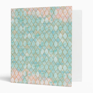 Light pink and Aqua Maroccan pattern 3 Ring Binders