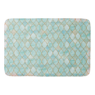 Light pink and Aqua Maroccan pattern Bath Mat