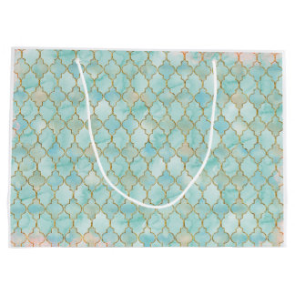 Light pink and Aqua Maroccan pattern Large Gift Bag