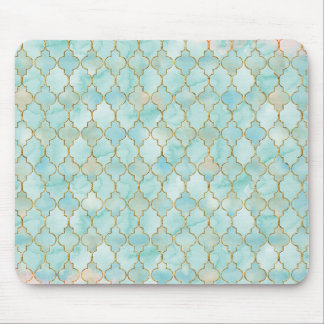 Light pink and Aqua Maroccan pattern Mouse Pad
