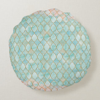 Light pink and Aqua Maroccan pattern Round Pillow