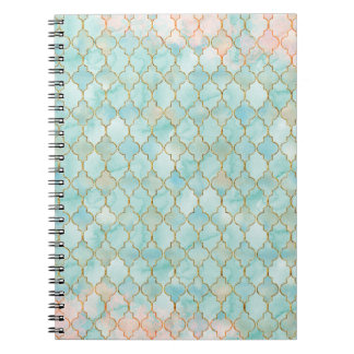 Light pink and Aqua Maroccan pattern Spiral Notebook